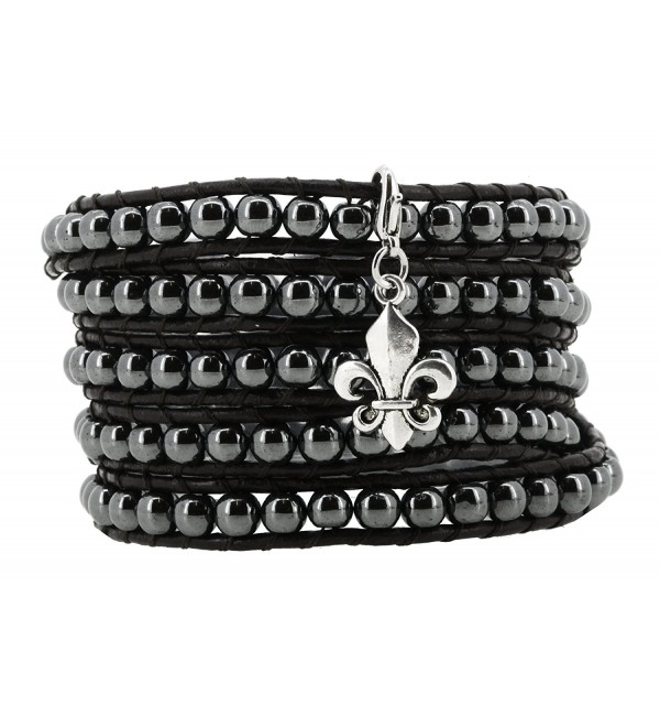 Long Leather Black Simulated Hematite Stone Bead Wrap Around Bracelet with a Removable Charm- 40 Inches - CP11YZZW8LR