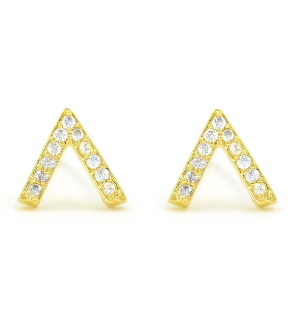 Minialist Micropave V Stud Earrings Plated in 14K Rose Gold / Yellow Gold - C412NZUY7BU