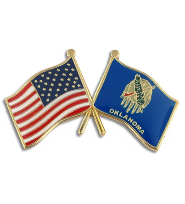 PinMart's Oklahoma and USA Crossed Friendship Flag Enamel Lapel Pin - CT119PEM967