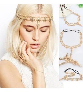 Baishitop Tassel Flower Stretch Headband- Crystal Golden Hair Chain - CL12FK865HZ