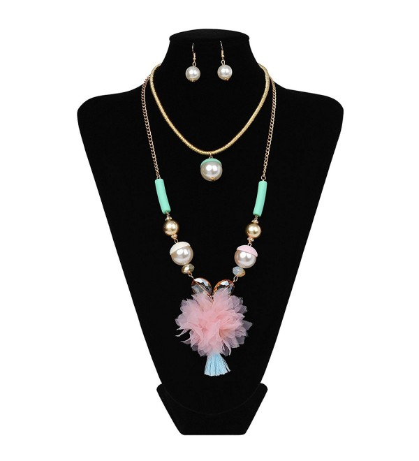 IPINK Exaggerated Chunky Cluster Pearl Crystal Bead Bib Earrings Necklace Jewelry Set - Color 13 - C7182A34K5Q