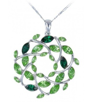 Alilang Womens Silvery Tone Emerald Colored Gemstones Christmas Leaf Wreath Pendant Necklace - CN110YKV2MN