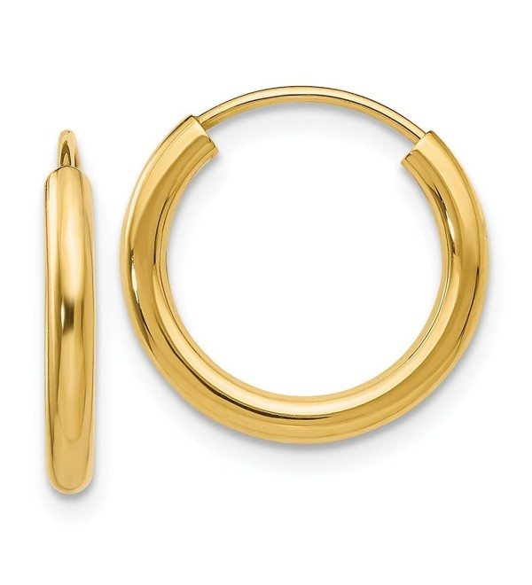 14k Gold 2mm Polished Round Endless Hoop Earrings (0.47 in x 0.08 in) - CX1139725H9