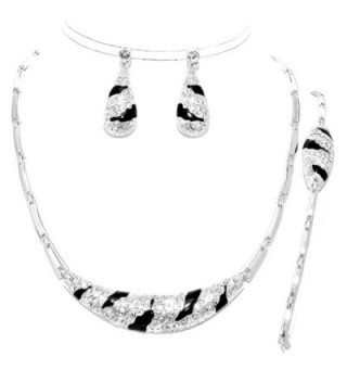 3 Pcs Elegant Luxury Silver Black Crystal Zebra Wild Print Necklace Bracelet Earrings Set - C712C4LNF65