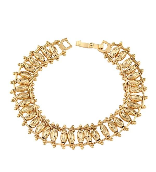 YAZILIND 18K Charming Elegant Gold Plated Bead Women Fashion Bracelet Chain Link Wedding Jewelry Gift - CS12G2Z0N41