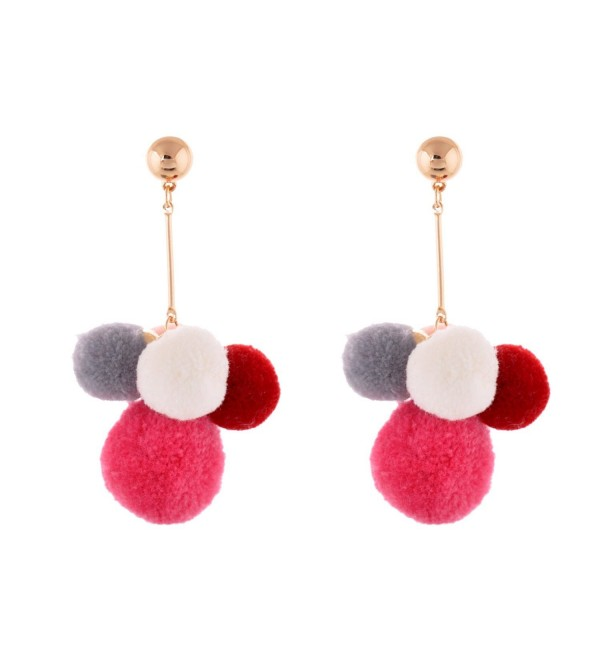 Lureme Lovely 5-Tone Multi Color Gold Post Pom Pom Earrings for Women and Girls (er005487) - CP182GGG9DM