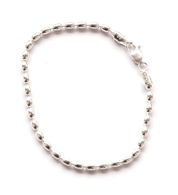 Sterling Silver 11-inch Charleston Rice Bead Link Anklet - Hiqh Quality Sturdy Ankle Bracelet 2-mm Beads - CH11NZNSN0P
