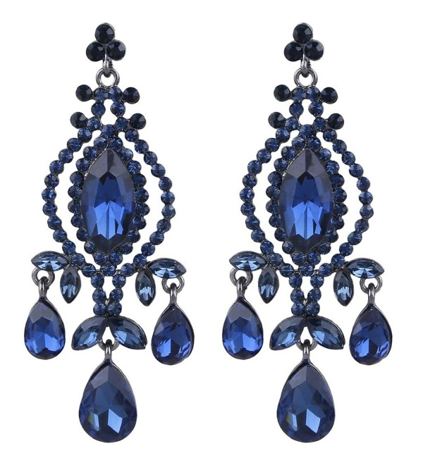EVER FAITH Austrian Crystal Vintage Style Teardrop Dangle Chandelier Earrings - Black-Tone Sapphire-color - CD11ACKW8MR