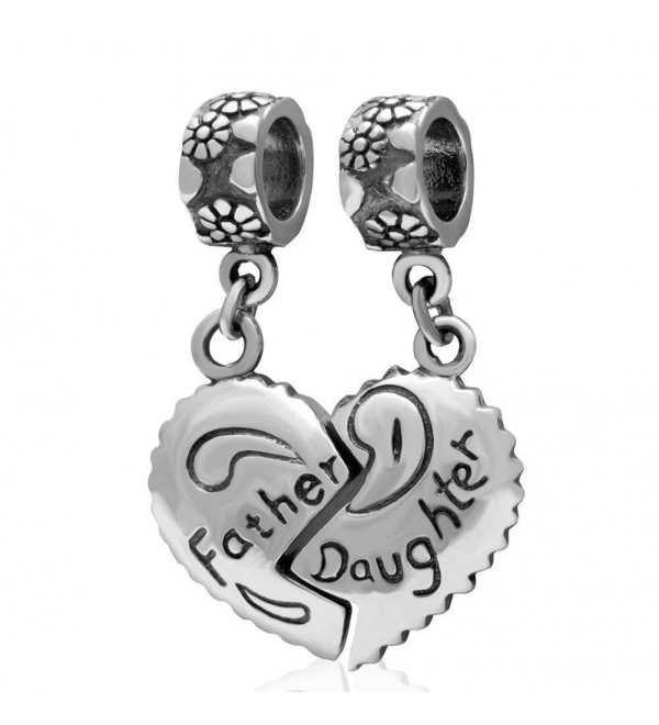 Choruslove Father Daughter Heart Charms Authentic 925 Sterling Silver Dangle Bead for Dad Gifts - CX128S6WVVP