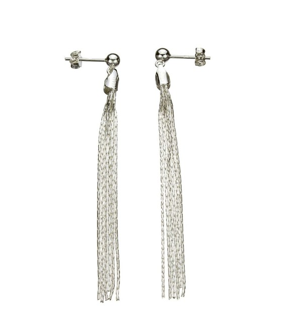 Sterling Silver Multi-Strand Diamond-Cut Italy Chain Tassel Earrings - CA112NU4NW3
