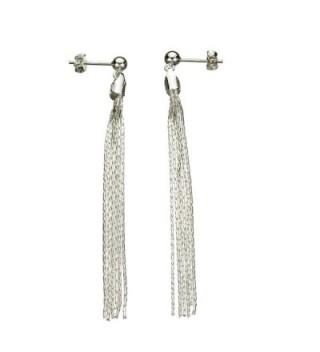 Sterling Silver Multi-Strand Diamond-Cut Italy Chain Tassel Earrings - CA112NU4NW3