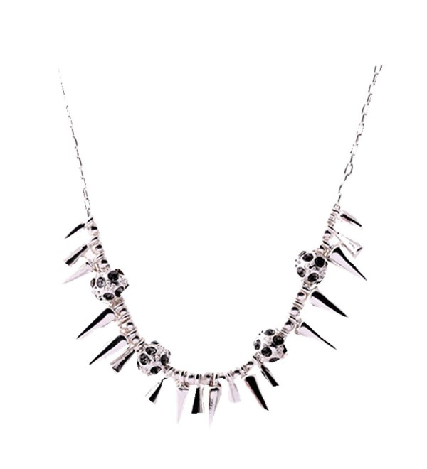Dot & Line renegade spike cluster crystal ball necklace - Silver - C412NT2FSAQ