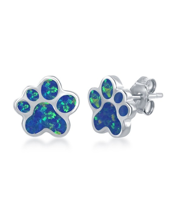 Sterling Silver / Rose Tone High Polish Created Blue or Pink Opal Paw Stud Earrings - Created Blue Opal - C91897A4Z2W