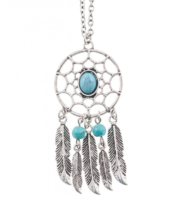 Shagwear Woman's Necklace Long Vintage Trendy Turquoise Dream Catcher Pendant - C911LBILL2N