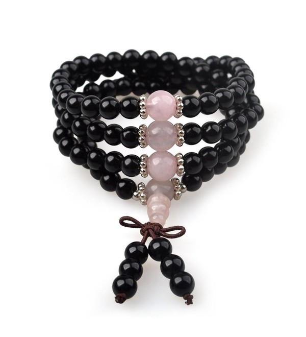 Gemstone Bracelet Necklace Spiritual Meditation - Rose quartz - C712NG7340F
