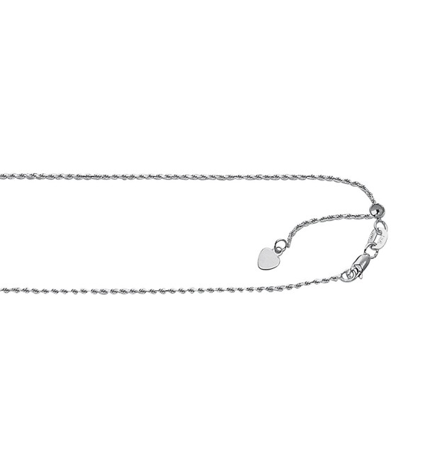 Silver with Rhodium Finish 1.0mm wide Diamond Cut Adjustable Rope Chain with Lobster Clasp - CG11F1BQHOD