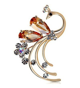Latigerf Women's Peacock Bird Coffee color Swarovski Elements Crystal Brooches and Pin Gold Plated for Party - C311WNSCYF3
