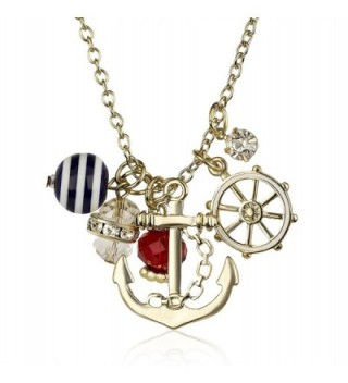 Lux Accessories Goldtone Nautical Cluster Anchor Ship Wheel Charm Necklace - CJ12LHNUJ0B