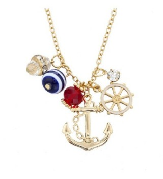 Lux Accessories Goldtone Nautical Necklace in Women's Pendants