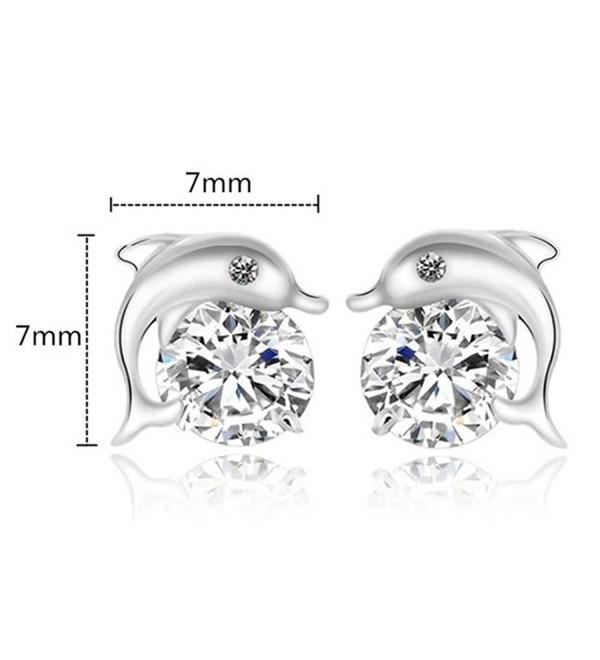 Silver Dolphin Crystal Stud Earrings - CI185R46U7H