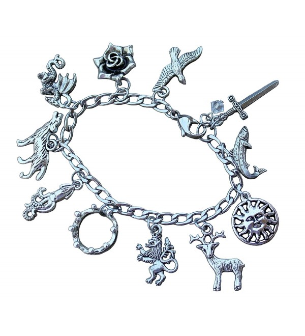 Game of Thrones Charm Bracelet Stainless Steel Chain- Pewter Charms- Fantasy Fan Jewelry - Sizes XS-XL - CF12L9UQH4T