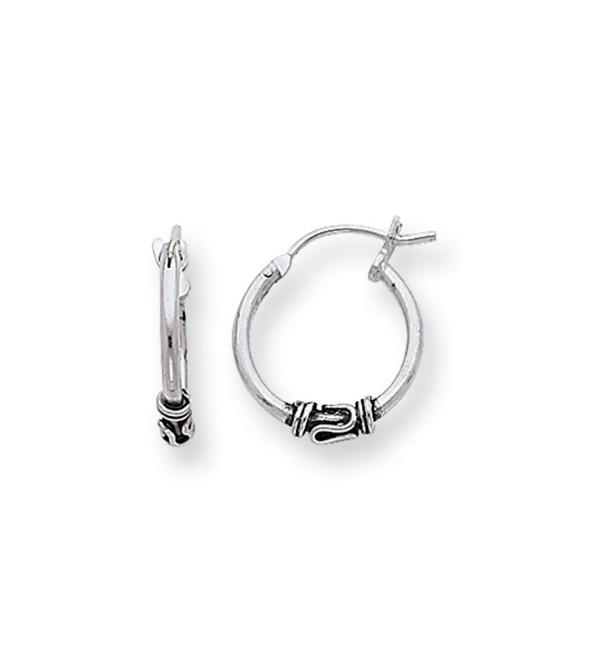 Antiqued- Sterling Silver Hoop Earrings - 15mm (9/16 Inch) - CM116RRD0I1