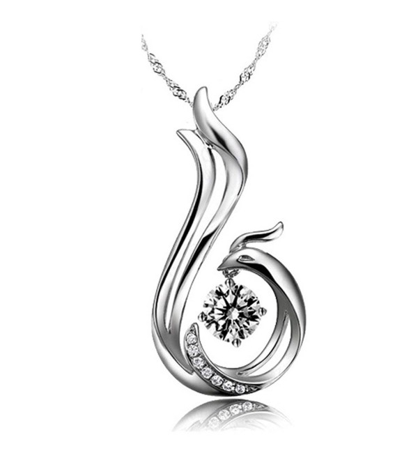 Latigerf Women's Bird Phoenix Pendant Necklace Sterling Silver Austrian Crystal White - C011RLRSM6B