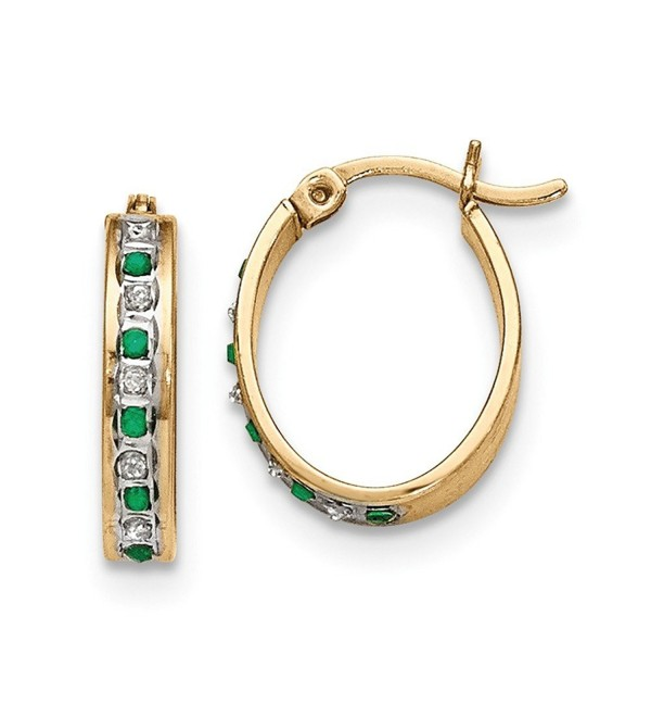 Silver & 14k Gold-plated Diamond & Emerald Oval Hinged Hoop Earrings.Wt-0.02ct (0.7IN Long) - C811BEIXB5P