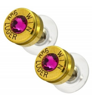 LoriDavidson Designer Brass 9mm Bullet Shell Crystal Stud Earrings - CP11SZDWOYB