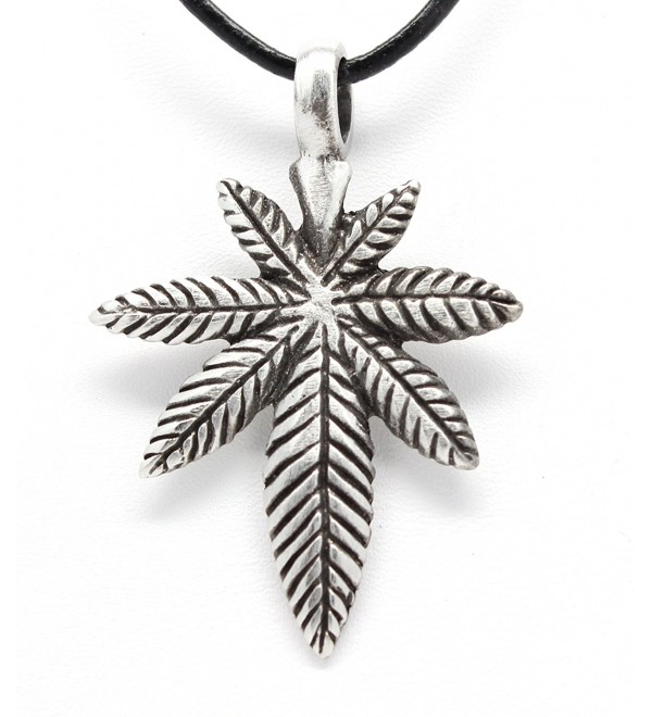 Pewter Medical Marijuana Pot Leaf Pendant on Leather Necklace - CV11DI4PHZ5