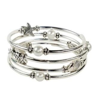 Silver Slinky Womens Bracelet Pearl - CB1836ZUW46