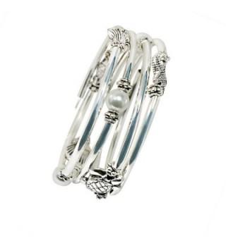 Silver Slinky Womens Bracelet Pearl