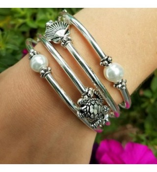 Silver Slinky Womens Bracelet Pearl in Women's Wrap Bracelets