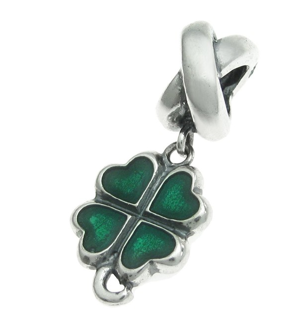 Sterling Silver Green Lucky Irish Four Leaves Clover Heart European Style Bead Charm - CB11D29N2H1