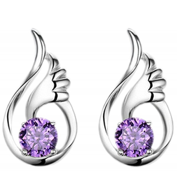 Wonvin Women 925 Silver Plated Amethyst Crystal Stud Earrings for Woman Girls - CU12DDZU0FZ