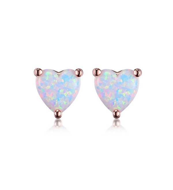 GEMSME 18K Rose Gold Plated Opal Stud Earrings For Women With Many Shape Option - C2186A3D4ET