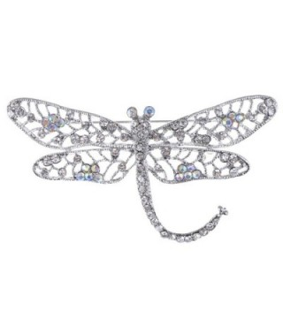 Alilang Silver Tone Iridescent Clear Crystal Rhinestone Dragonfly Flying Insect Brooch Pin - CK1163ZKGOD