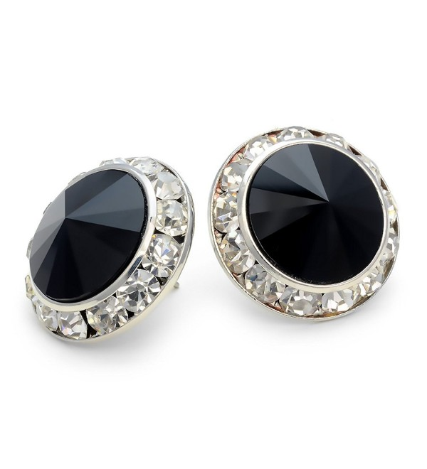 PammyJ Black 20mm Crystal Framed Post Earrings - CL113W9ITB5