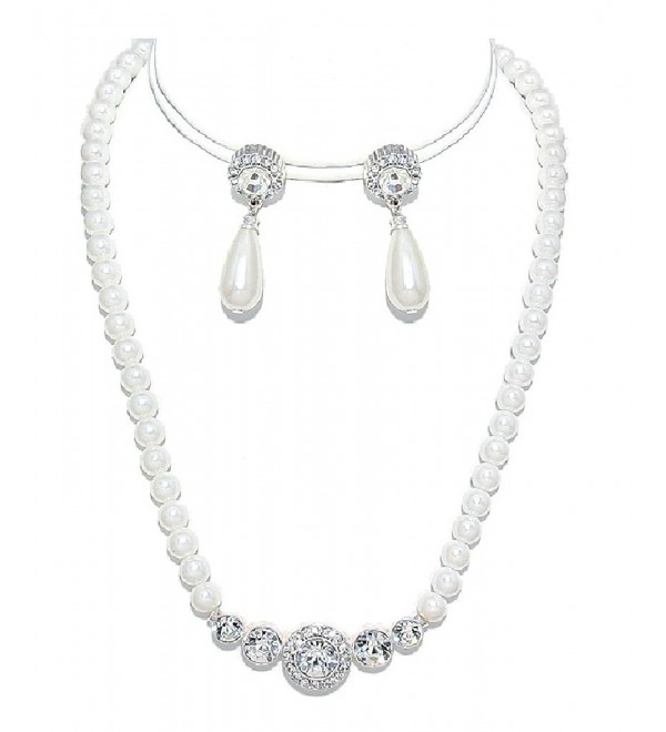 White Pearl and Crystal Necklace Set CLEARANCE Silver Fashion Jewelry - C011A8RSVG1