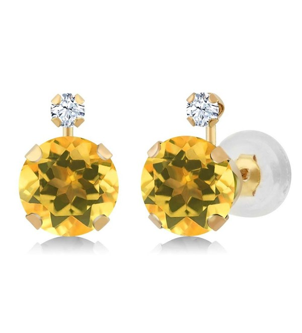 1.48 Ct Round Yellow Citrine White Created Sapphire 14K Yellow Gold Earrings - CY11OWHT7GR