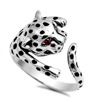 Tiger Cat Leopard Simulated Garnet Cute Ring New .925 Sterling Silver Band Sizes 5-12 - C7126PWS0HN