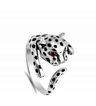 Leopard Simulated Garnet Sterling Silver in Women's Band Rings