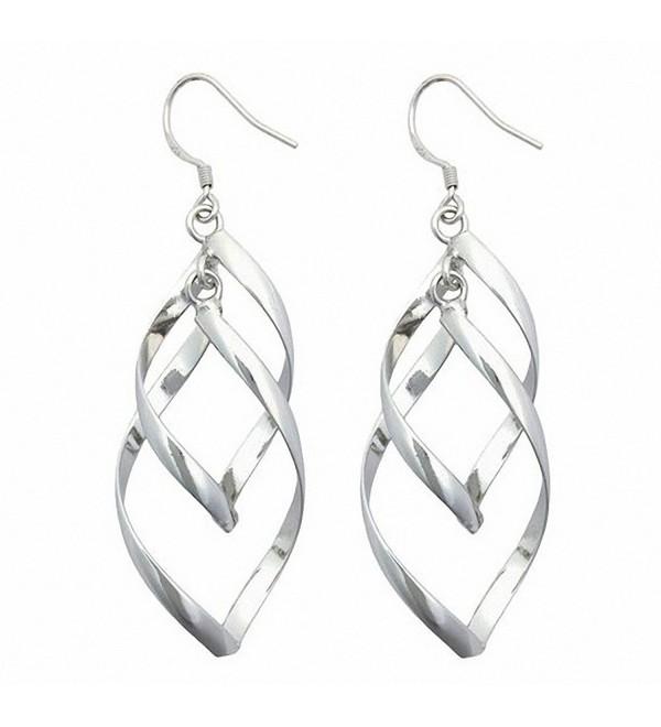 Silver Plated Linear Swirl French Wire Dangle Drop Earring (silver) - C111XT5WZ5X