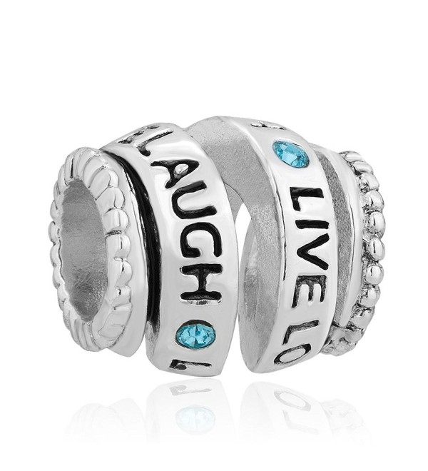 Q&Locket 925 Sterling Silver Live Laugh Love Charm Trinity Ring Spiral Spacer Bead For Bracelet - CN17YGU582N