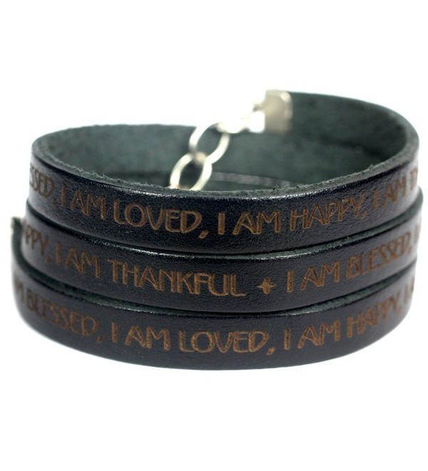 I Am Blessed- I Am Loved- I Am Happy- I Am Thankful Leather Wrap Bracelet - Black - CL12BWZ9HTX