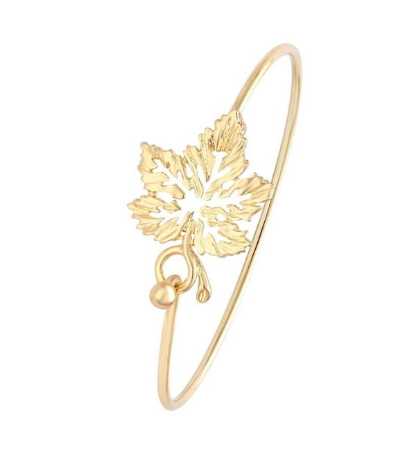 MANZHEN Dainty 3 Colors Open Maple Leaf Bangle Bracelets for Women - Gold - CI18700W66I