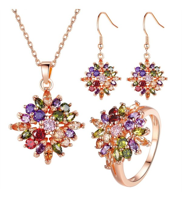 BISAER Noble 18K Rose Gold Plated Flower Shape Colorful Cubic Zirconia Jewelry Sets for Women - CU17YH9HWWA