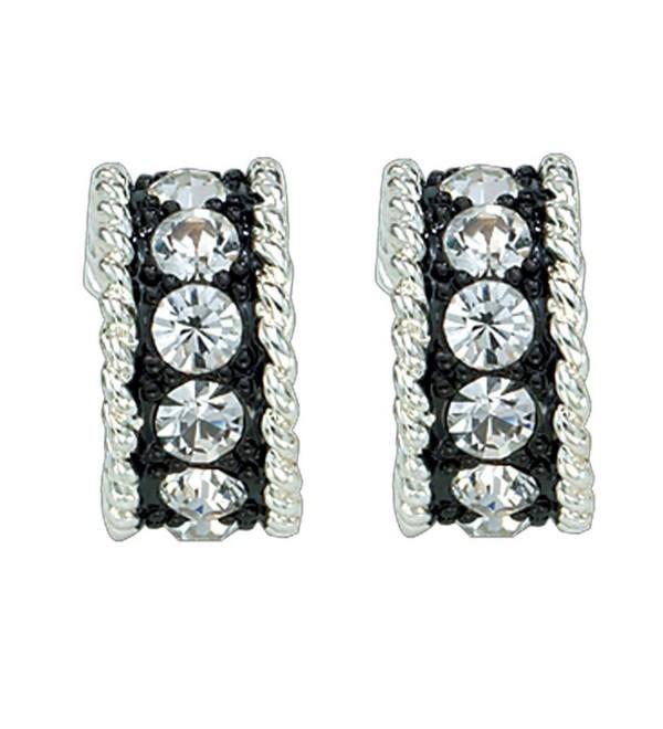 Montana Silversmiths Womens Crystal Shine Small Hoop Earrings Silver - C011BBGMG7T