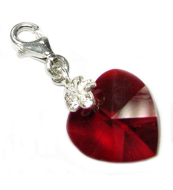 Sterling Silver Swarovski Elements Red June Simulated Birthstone European Lobster Style Charm - CU116K3G9Q7