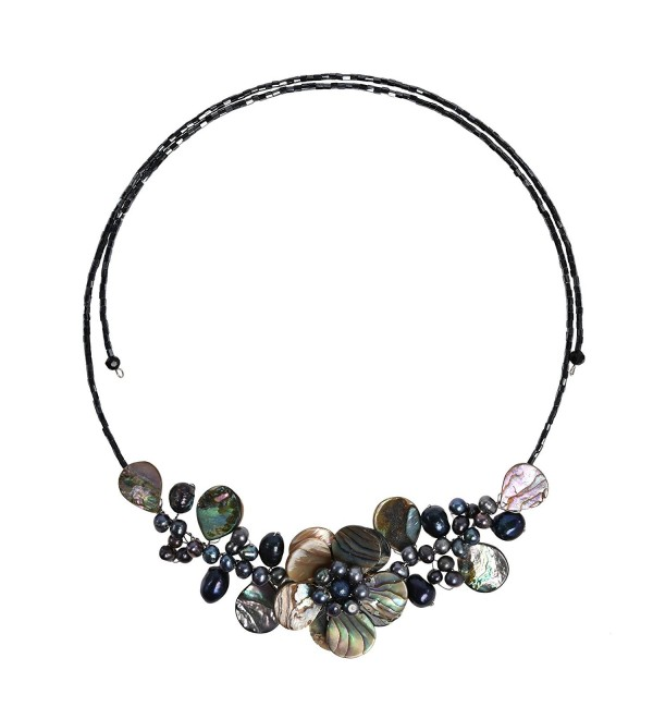 Lotus Wreath Abalone Shell Cultured Freshwater Pearl Memory Wire Wrap Necklace - CK11FEQ435P